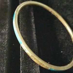 "Blue Teal Faux Copper/Gold 7"" Bracelet"